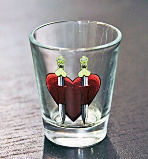 Haunted Casinos Shot Glass, (Hearts)