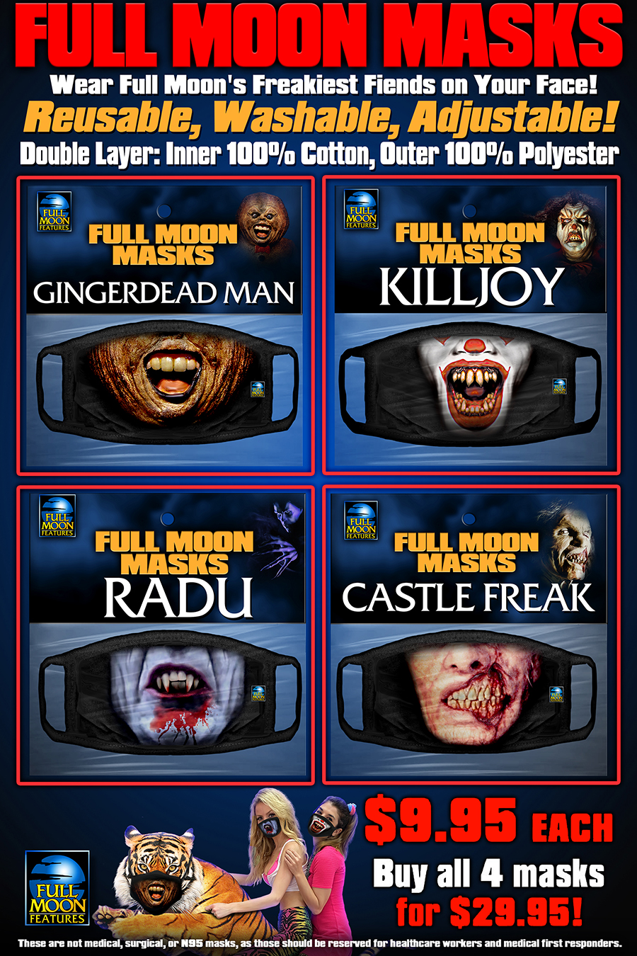 Full Moon Masks 4 PACK: Series 2 (Radu, GDM, Killjoy, Castle Freak)