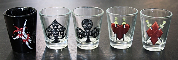 Haunted Casinos Shot Glasses, Set of All 5 (Spades, Clubs, Hearts, Diamonds, Joker)