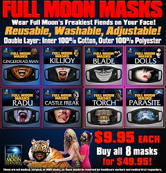 Full Moon Masks: 8 PACK (Blade, Dolls, Parasite, Torch, GDM, Killjoy, Castle Freak, Radu)